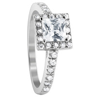 925 Sterling Silver Cubic Zirconia Princess cut and Round Ring