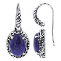 Oval Shape Simulated Lapis Lazuli Gemstone 925 Sterling Silver Drop Earrings