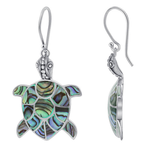 Handcrafted Abalone Turtle 925 Sterling Silver Drop Earrings