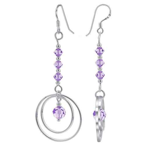Purple Crystal Bicones 925 Sterling Silver Dangle Earrings