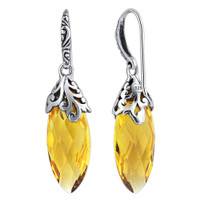 Marquise Shape Simulated Bali Design Citrine 925 Sterling Silver Drop Earrings