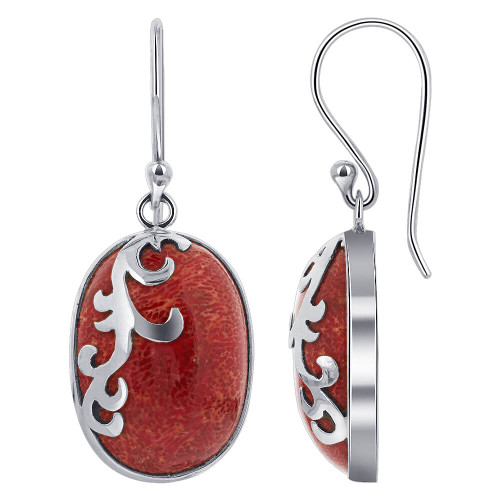 Bali Design Oval Shape Coral 925 Sterling Silver Drop Earrings
