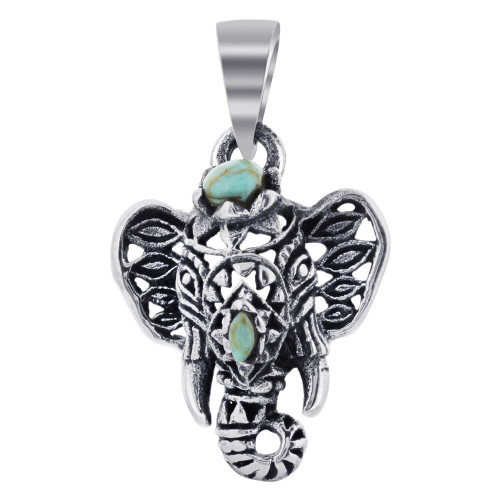 Simulated Turquoise Tusker Elephant 925 Sterling Silver Pendant