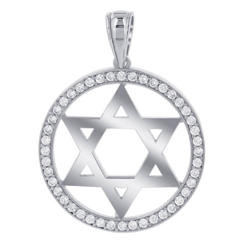 925 sterling silver cubic zirconia studded 30mm circle star pendant cubic zirconia studded 30mm circle 925 sterling silver star pendant mozeypictures Image collections
