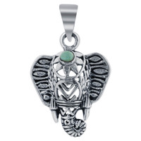 Sterling Silver Simulated Turquoise Tusker Elephant Pendant