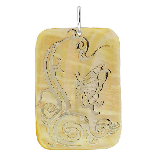 Floral Design Engraved Gold Tone Rectangle Shape Mother of Pearl Charm Pendant