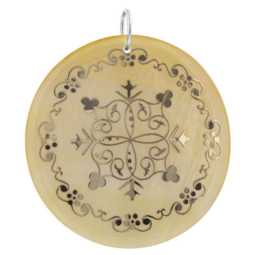 Floral Design Engraved Gold Tone Mother of Pearl Charm Pendant