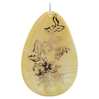 Floral Design Engraved Gold Tone Teardrop Mother of Pearl Charm Pendant