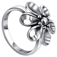 925 Plain Sterling Silver Polished Finish 16mm Wide Top Quality Floral Ring #LWRS012