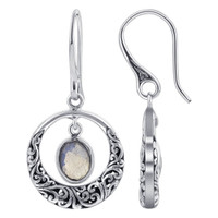 Oval Labradorite Gemstone 925 Sterling Silver Bali Design Earrings