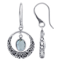 Oval Blue Topaz Gemstone 925 Sterling Silver Bali Design Earrings