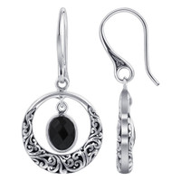 Oval Black Onyx Gemstone 925 Sterling Silver Bali Design Earrings
