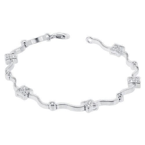 925 Sterling Silver Cubic Zirconia Tennis Bracelet 7 Inch Bracelet with Lobster Clasp