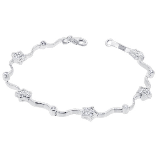 925 Sterling Silver 2mm Cubic Zirconia 7mm Star Tennis Bracelet 7 Inch with Lobster Clasp