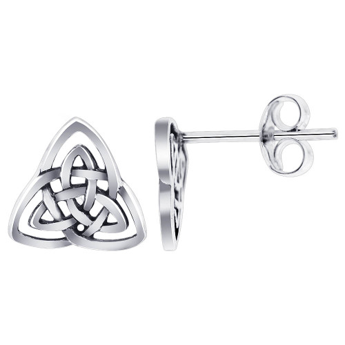 925 Sterling Silver 10mm wide Triquetra Celtic Knot Post Back Stud Earrings