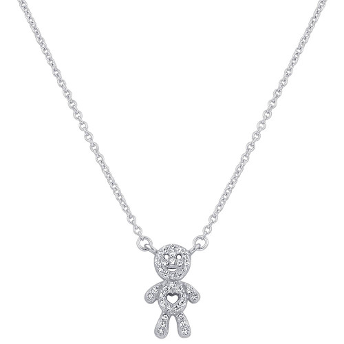 925 Sterling Silver Clear CZ Boy Pendant with Rolo Chain Necklace 16 inch Spring Ring Clasp