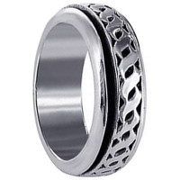 Mens 925 Sterling Silver 8mm Spinning Band