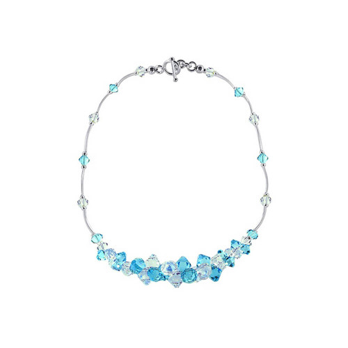 Sterling Silver Clear and Light Blue Crystal Necklace Swarovski Elements