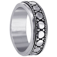 Mens 925 Sterling Silver 7mm Spinning Band