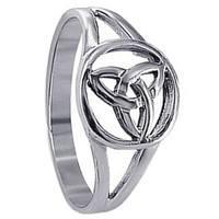 925 Plain Sterling Silver Polished Finish Minimal Triquetra Filigree Celtic Knot Ring #LWRS029