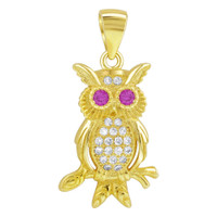 Gold over Sterling Silver Ruby Cubic Zirconia Owl Vermeil Pendant