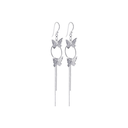 925 Sterling Silver Butterfly 16mm Hoop French hook Dangle Earrings