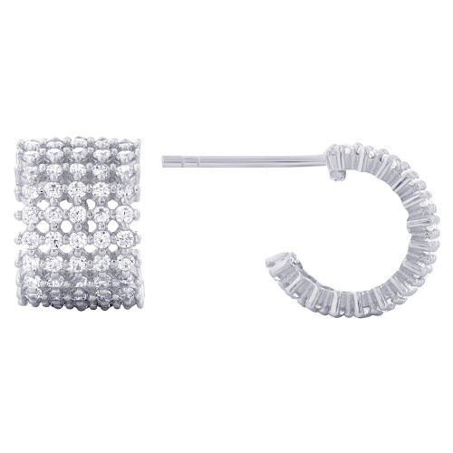 925 Sterling Silver Round Cubic Zirconia C-Hoop Earrings