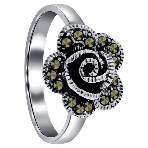 925 Sterling Silver Faceted Cut Marcasite Flower 3mm wide Ring