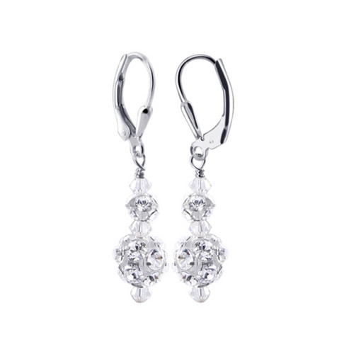 Sterling Silver Swarovski Elements 7mm Ball with Clear Crystal CZ Accented Drop Earrings