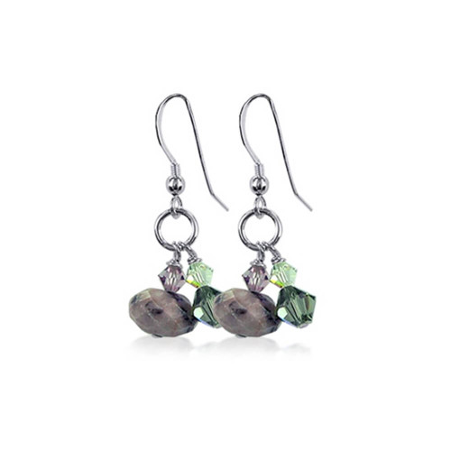 Sterling Silver Crystal and Natural Stone Handmade Dangle Earrings Made with Swarovski Elements