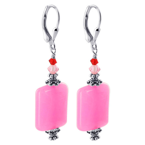 Sterling Silver Pink Glass Bead Bicone Crystal 1.3 inch Earrings with Swarovski Elements
