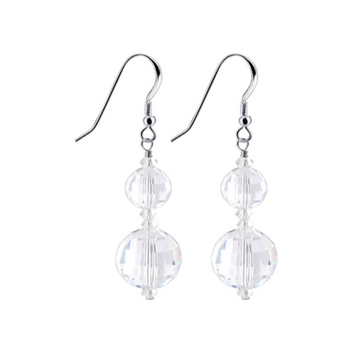 Sterling Silver Made with Swarovski Elements Multifaceted Crystal Handmade Drop Earrings