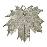 Platinum Plated Real Sugar Maple 62 x 46mm Leaf Pendant