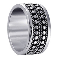 Mens 925 Sterling Silver Engraved Spots Design 9mm Band