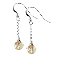 Sterling Silver Swarovski Elements Multifaceted Golden Shadow Crystal Dangle Earrings