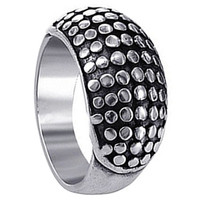 925 Plain Sterling Silver Polished Finish Stylish Spotted Design Ring #LWRS055
