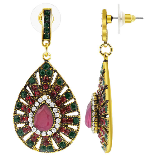 Gold Tone Teardrop with Peacock Design Rhinestones Post Back Drop Earrings