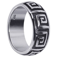 Mens 925 Sterling Silver 8mm Inward Spiraling Square Maze Design 8mm Band