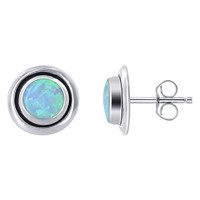 925 Silver Round Blue Created Opal Post Back Stud Earrings