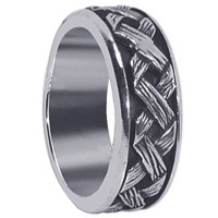 Men's Sterling Silver Braided Woven Design 8mm Spinning Band