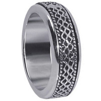 Mens 925 Sterling Silver Textural Lines Design 7mm Spinning Band