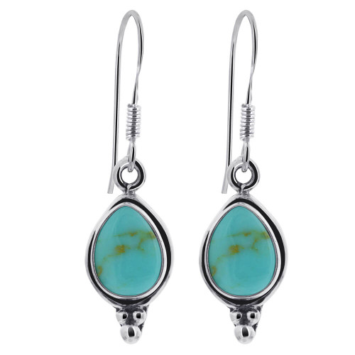 Sterling Silver Pear Shape Simulated Turquoise Drop Earrings