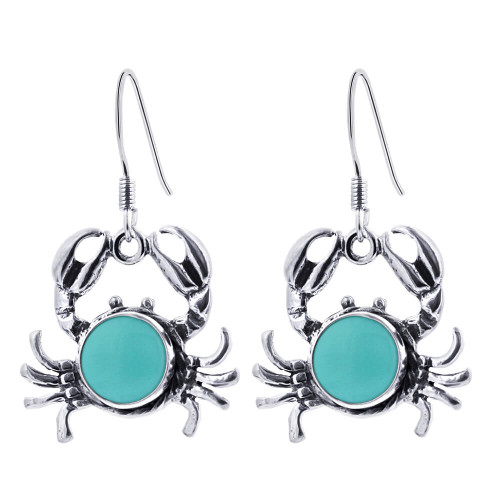 Sterling Silver Simulated Turquoise Drop Crab Earrings