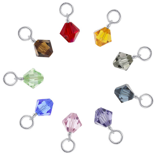 8mm Swarovski Crystal Bicone Sterling Silver Charms for Charm Bracelet