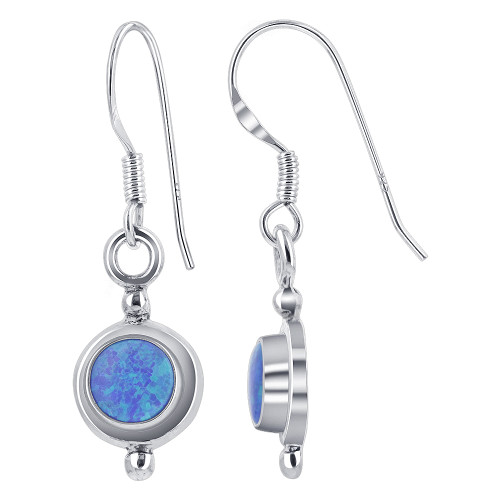 Sterling Silver Created Blue Fire Opal 8mm Round French Wire Drop Earrings