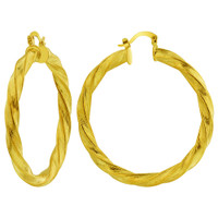 18k Gold Plated Thin Endless Hoop Earrings (51mm Diameter)