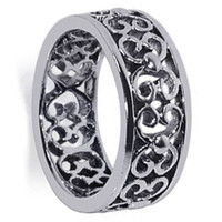 Mens 925 Sterling Silver Filigree Floral Scrollwork 7mm Band