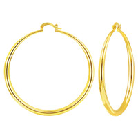 18K Yellow Gold Plated high Polish Plain Round Costume Hoop Earrings (60mm Diameter)