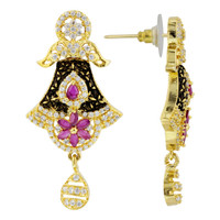 Gold Plated Simulated Ruby and CZ Flower Handmade Designer Bollywood Indian Drop Earrings