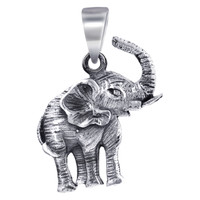 Sterling Silver 25mm x 17mm Tusker Elephant Pendant
